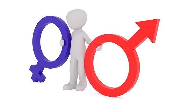 En animerad figur som håller i symbolerna för man och kvinna.
