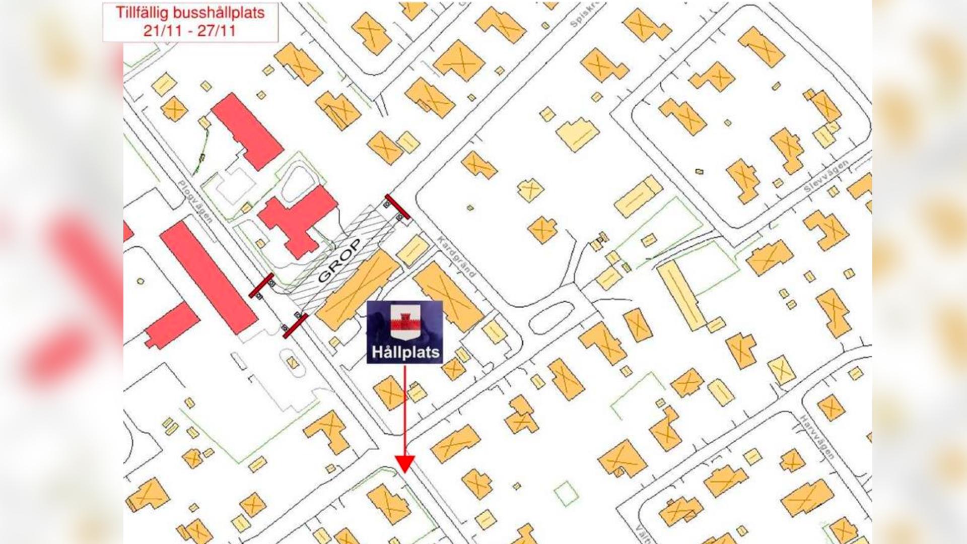 Kartbild som visar var den tillfälliga busshållplatsen kommer att finnas.