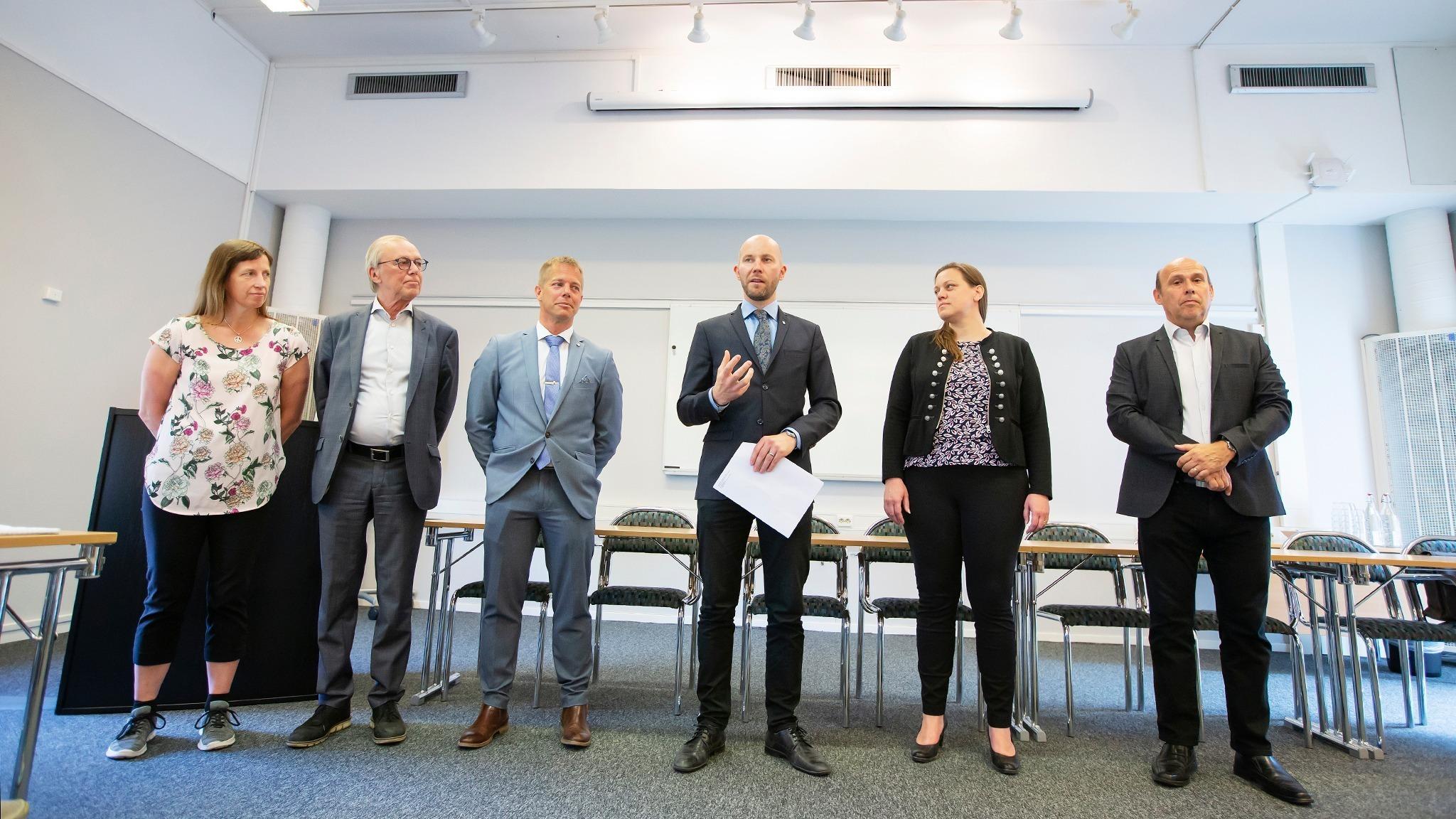 Gruppledarna Catarina ASK (MP), Anders Sundström (SJVP), Johan Grön och (C),  Claes Nordmark (S) från Bodens kommun samt Hanna Eriksen (Fortum) och Michael Kempi (Fortum).