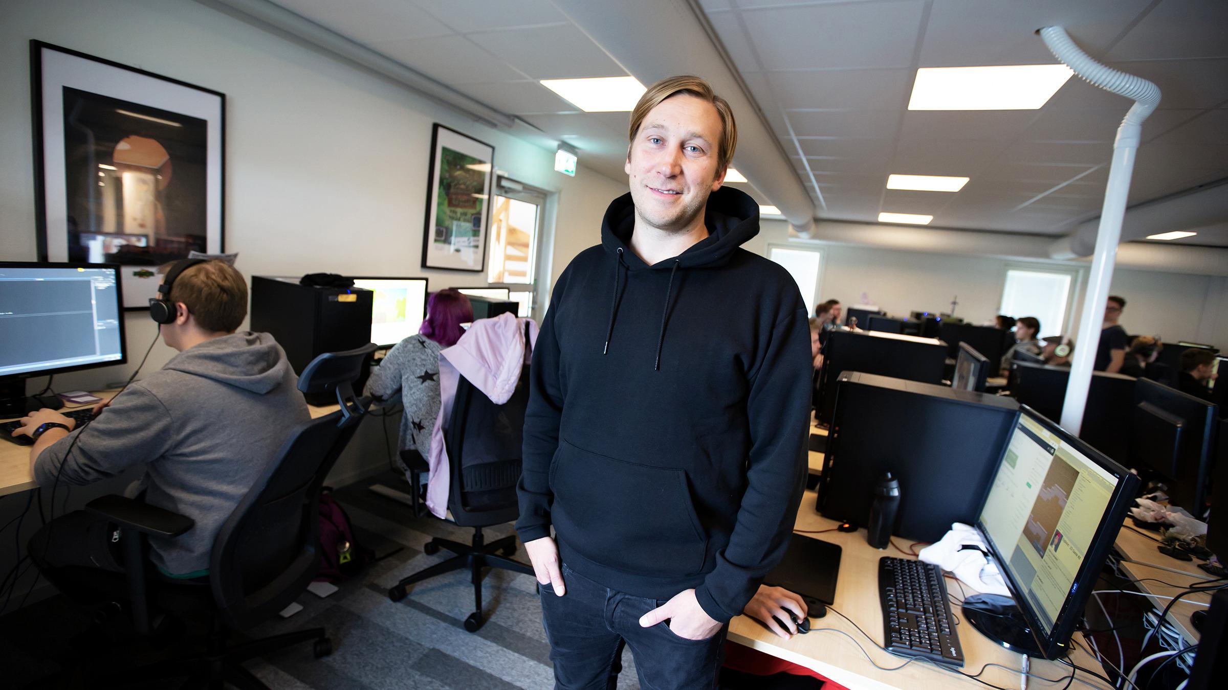Mattias Bergqvist i datorsal på Boden Business Park.