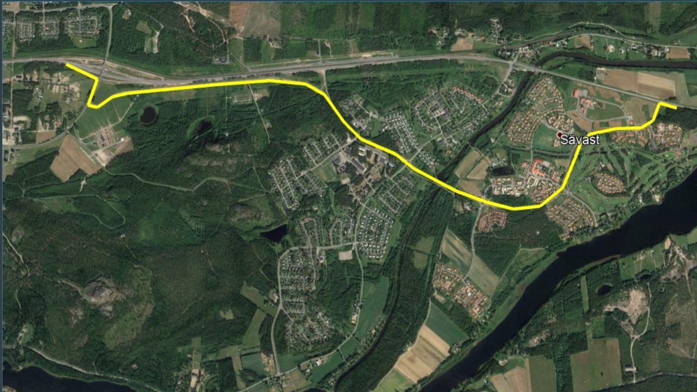 Omledning av trafiken från riksväg 97 till Svängleden i Sävast.