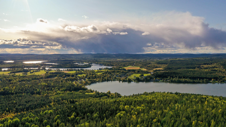 Vy över skog och vatten på landsbygden.
