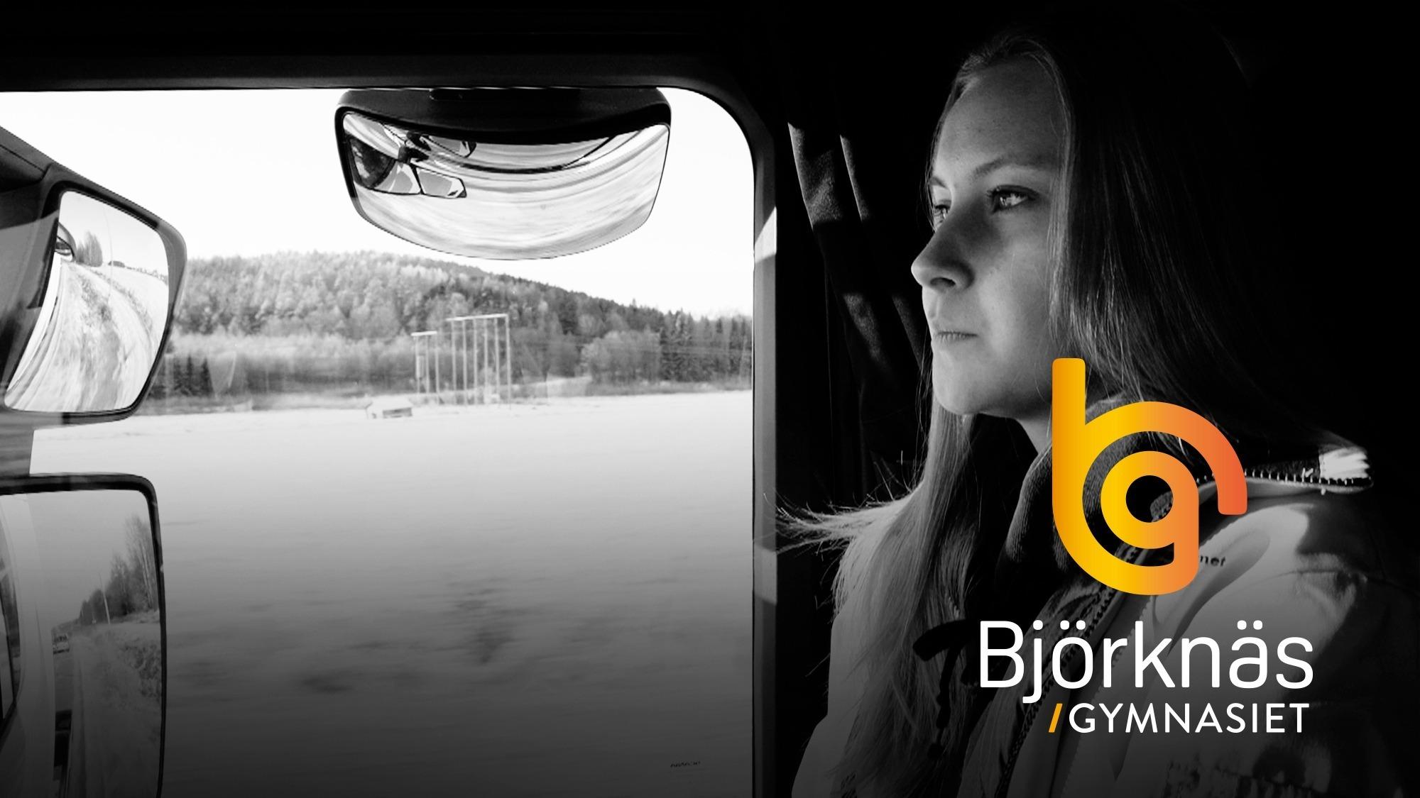 Tjej som går på Björknäs och kör lastbil.