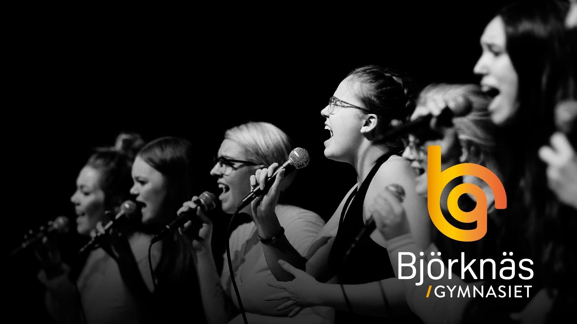 Elever som står på scenen och sjunger.
